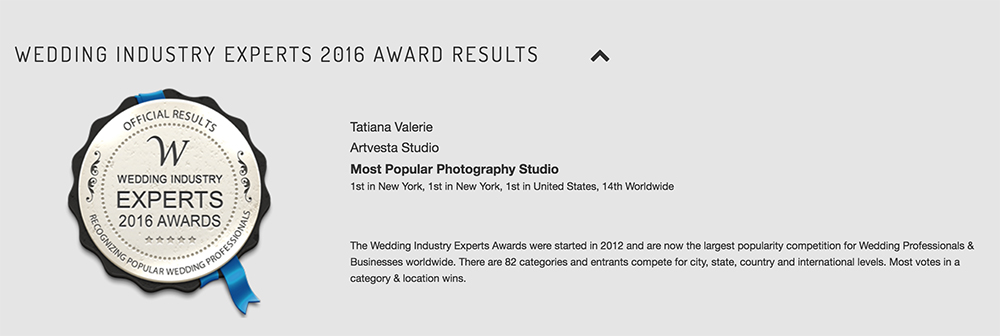 Artvesta Studio won The Most Popular Photography Studio award by the Wedding Industry Experts